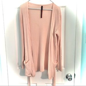 Blush Open Front Cardigan with Belt Tie & Pockets